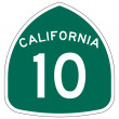 California route or highway 10 sign — 图库照片