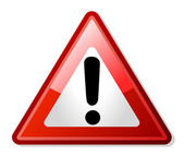 Rött utropstecken varning vägmärke — Stockfoto