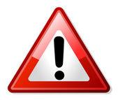 红色的感叹号警告道路标志 — 图库照片