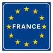 Stock Photo: France road sign on Europeflag