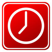 Red time clock button — Stock Photo