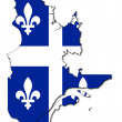 Quebec flag on map - Stock Photo