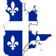 Quebec flag on map - Foto Stock