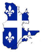 Quebec flag on map — 图库照片