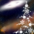 Christmas tree from snowflakes - Stock Photo