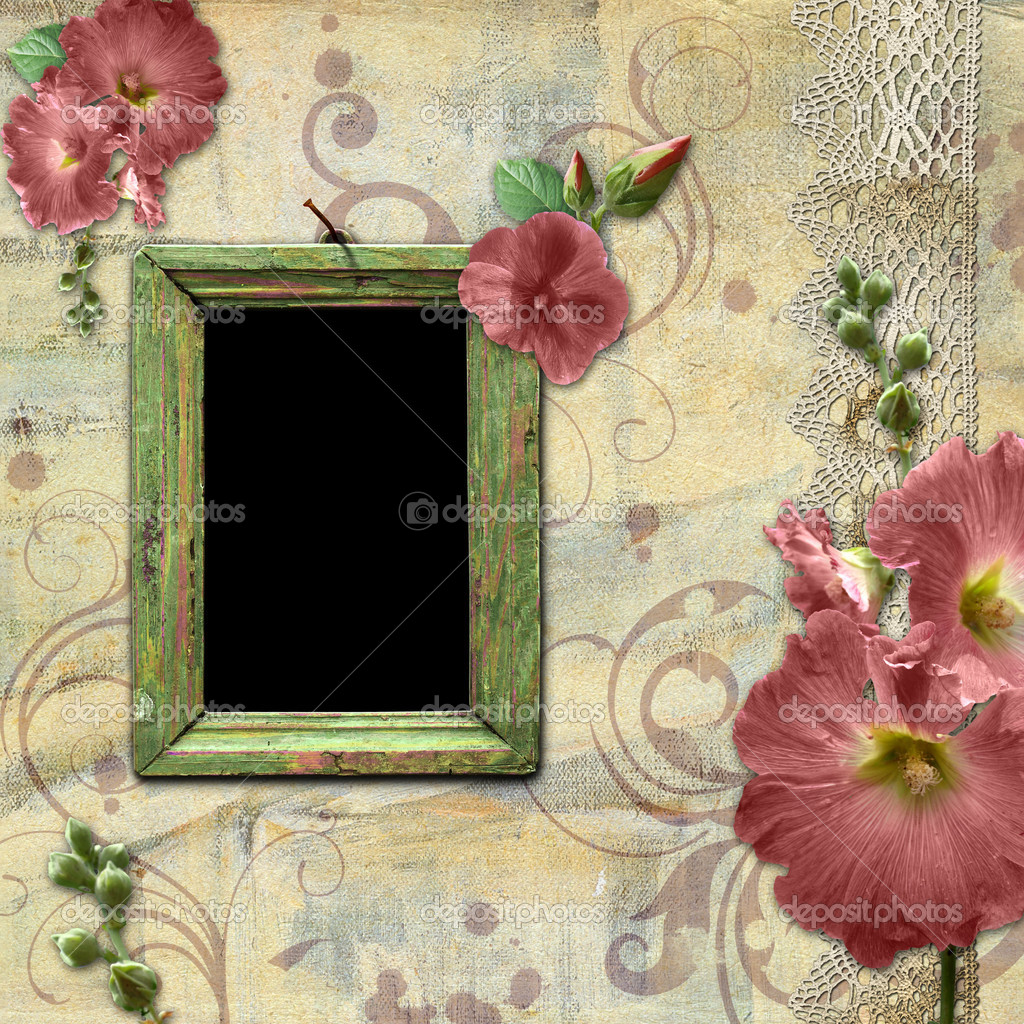 Vintage background with frame for photo and flowers hollyhocks — Stock Photo #4583885