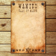 Stock Photo: Vintage wanted poster on wooden wall
