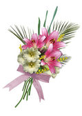 Bouquet of lilies and hollyhocks. — Stock Photo