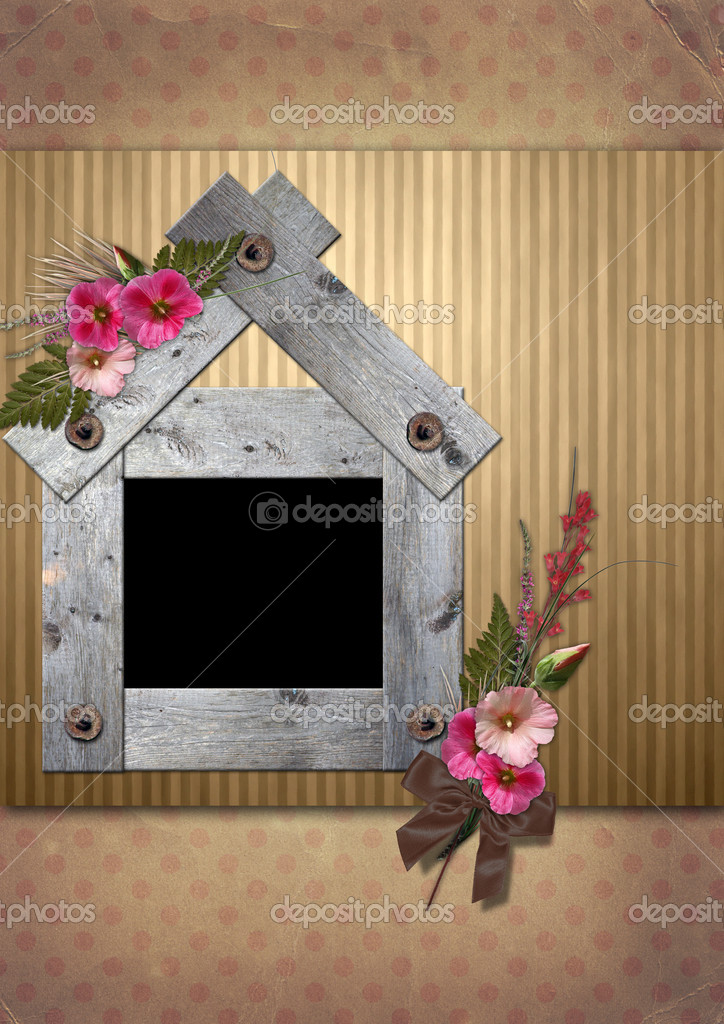 Vintage Photo frame is decorated with a bouquet of flowers hollyhocks — Stock Photo #5183692