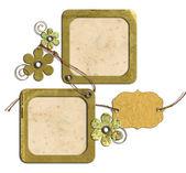 Molduras vintage e flores isoladas — Fotografia Stock