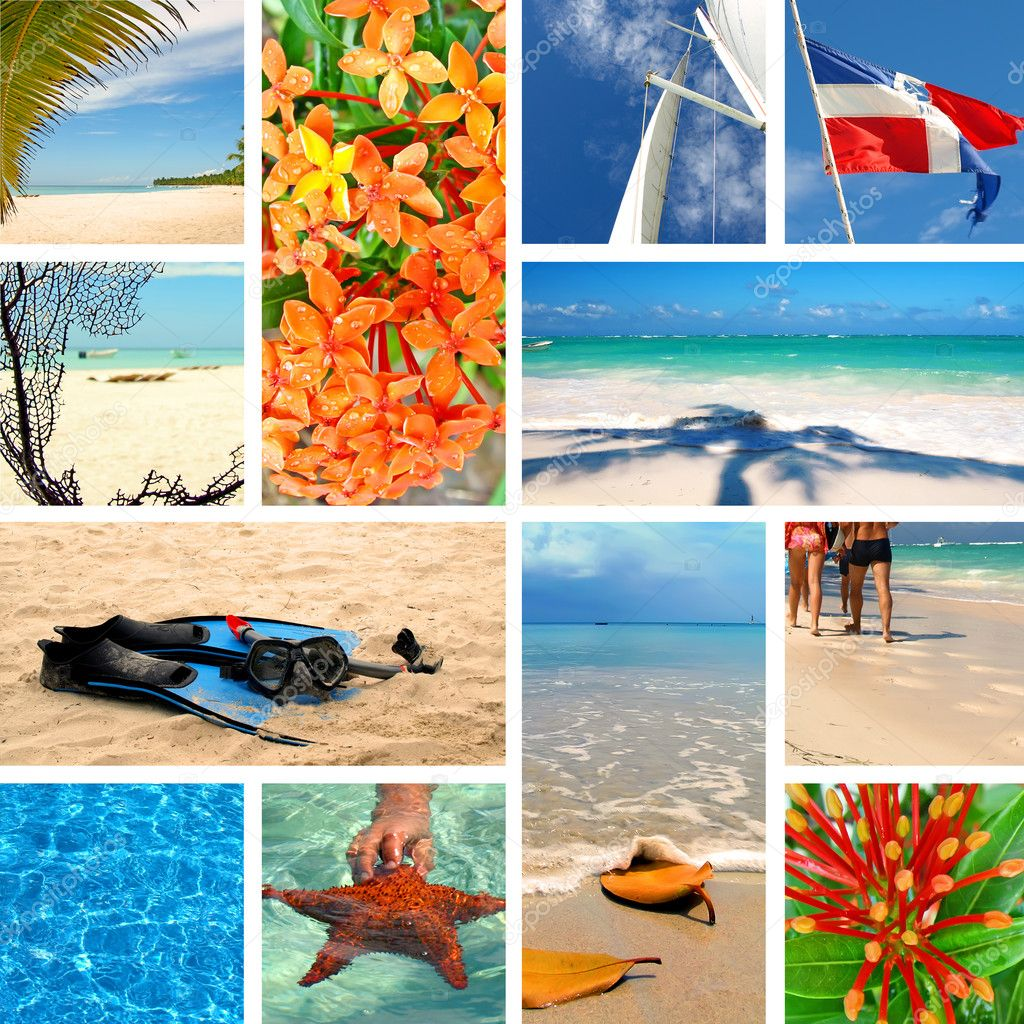 Tropical collage. Exotic travel. Caribbean sea Dominican Republic Island Saona — Stock Photo #5262777