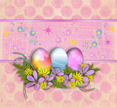 Vintage vintage background with Easter eggs — Stock Photo