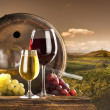 Red and white wine on vineyard - Foto Stock