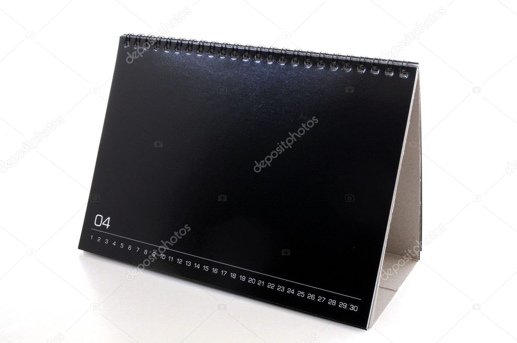Blank black desk calendar, isolated on white background — Stock Photo #3974380