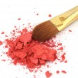 Stock Photo: Makeup brush and cosmetic powder