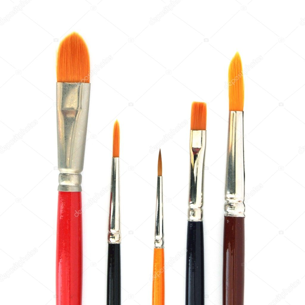 Close up of different paint brushes isolated on white background — Stock Photo #4157404