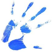 Hand print with blue color — Stock Photo
