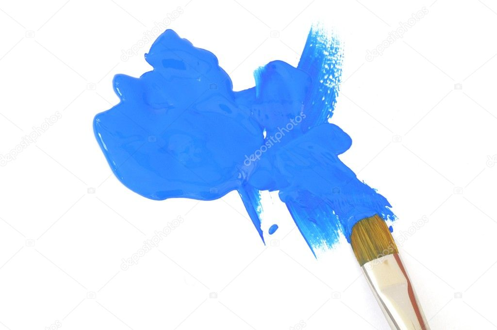 Blue color and artist brush isolated on white background — Stock Photo #4884550