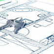 House key on a blueprint — Stockfoto
