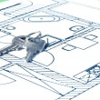 House key on a blueprint — Stock Photo #5339876