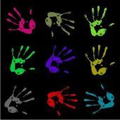 Painted handprints — Stock Photo