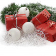 Red Christmas gifts - Foto Stock