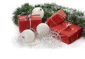 Red Christmas gifts — Stock Photo