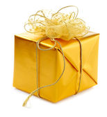 Gold gift box — Stock Photo