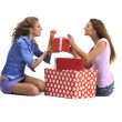 Attractive young girls with gift boxes — Stock Photo