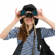 Stock Photo: Girl with binocular