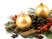 Golden glass ball - Christmas decoration — Stock Photo