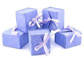 Lila giftboxes — Stockfoto
