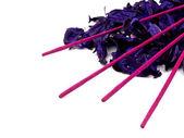 Purple potpourri and pink incenses — Stock Photo