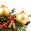 Stock Photo: Golden glass ball - Christmas decoration