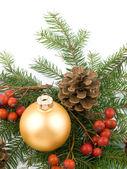 Esfera de vidro dourado - decoração de Natal — Fotografia Stock