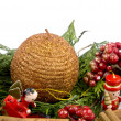 Stock Photo: Christmas decoration - wooden figure, candle and thujbranches