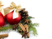 Bola de vidro vermelho - decoração de natal — Foto Stock