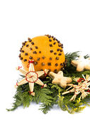 Christmas decoration - orange with cloves — Stock Photo