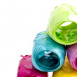 Colorful hanks of ribbons — Stock Photo