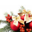 Red glass ball and rowan - Christmas decoration - Stock Photo