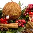 Christmas decoration - red wooden figure, candle and thuja branc - Stock Photo