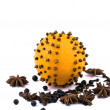 Christmas decoration - orange with spices - Stock Photo
