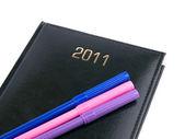 Organizador de 2011 preto com canetas — Foto Stock