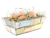 Eggs lying on hay in flowerpot — Stock Photo