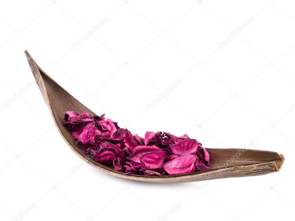 pink potpourri in wooden decoration stock photo mrsnstudio 4976048. Black Bedroom Furniture Sets. Home Design Ideas
