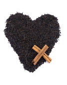 Aromatic black tea - valentine heart — Stock Photo