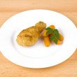 Fried chicken leg on white plate — Stock Photo #5204520