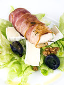 Rolled chicken breast with salad — Stock Photo