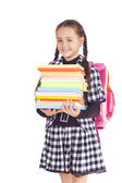 Girl with a briefcase and books — Stock Photo