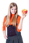 The girl with an apple in a hand — Stock Photo